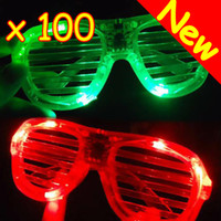 Wholesale 2012 New And Cute Shutters Shape LED Flash Glasses For Dances Party Supplies Decoration