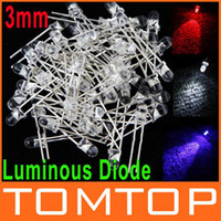 3mm led - 50Pcs set mm White Red Blue Light Discrete LED Bulb Light Luminous Diode H8832 H8833 H8834