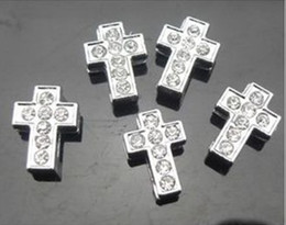 High quality 100pcs lot 8mm full rhinestones cross slide charms fit for 8mm DIY Accessories wristband bracelet