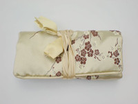 Wholesale Fold out Roll up Cosmetic Toiletry Bag Silk Fabric Zippered String Mix Color