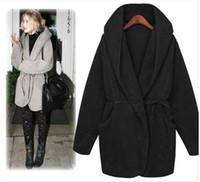 Wholesale Hot Women s Woolen Fabric Coat Fashion Winter Coat Casual Lady Clothes with belt color