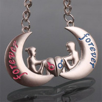 Wholesale 50PCS PR Alloy quot forever quot Moon Shape Couple Lover Key chain Keychain Pendant Valentines Gifts