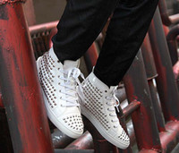 Wholesale Cheap Mens Shoes White Casual Shoes Stud Glitter Shoes Spiky Fashion Shoes Hip Hop Footwear On Sale