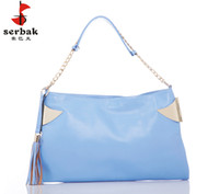 Wholesale serbak woman s soft fashion messenger bag shoulder bag handbag roes sky blue