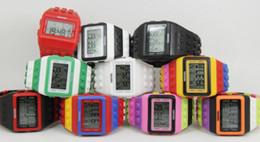 Wholesale Women Men Lego SHHORS Digital Watch Jelly Rainbow Night Light Waterproof Unisex Watches Bracelet