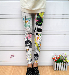 Wholesale Autumn and Winter Spray paint Doodle Pencil Pants Colorful Splash ink Elastic Cotton Print Leggings