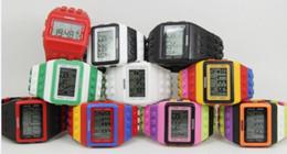 Wholesale 2014 Women Men Lego SHHORS Digital Watch Jelly Rainbow LED electron Light Unisex Watches Wristwatch Clock