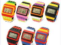 Wholesale 2012 Women Men Lego SHHORS Digital Watch Jelly Rainbow LED Light Unisex Watches Wristwatch Clock