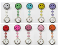 Analog active digital watches - 10pcs New active demand nurse watches colors pocket watch Smiling face Stainless steel watch