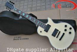 custom shop cream yellow electric guitar black hardware Chinese guitar