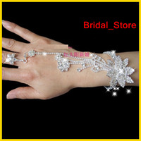 Wholesale 2012 Delicate Elegant Rhinestone White Red Party Prom Wedding Bridal Jewelry Bracelets With Ring