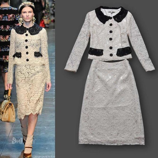 2013 fashion Women suits and skirts set Lace women business wear