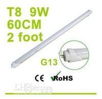 T8 9w SMD 3528 Factory Sales G13 60cm 2 Foot T8 Led Tube Light White 9W 144 Leds SMD LED Fluorescent Lamp 110V 230V