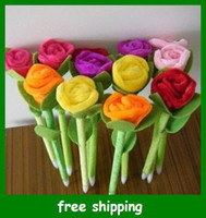 Wholesale colorful Flower Ball Pen Rose Plush Pens Wedding Necessity Creative Gift For Kids