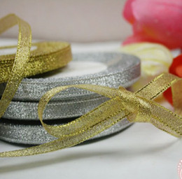 "1 Roll 25 Yards 3 8"" Metallic Gold Silver Glitter Ribbon Wedding Decoration Gold Silver Pick"