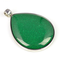 Wholesale Jade Green color drop shape scarf and necklace pendant PT