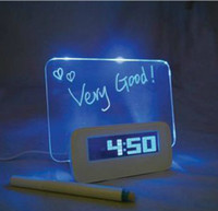 Wholesale 1pcs Fluorescence message board clock highlighter colorful backlight calendar LED display