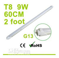 T8 9w SMD 3528 Factory Sale G13 60cm 2 Foot 9W T8 Led Tube Light Cool White SMD3528 LED Fluorescent Lamp 110V 230V