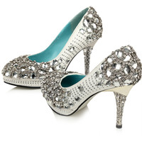 PU Rhinestone Custom Made Silver Beaded Rhinestone High Heels Bridal Wedding Shoes For Party Evening Prom Dresses
