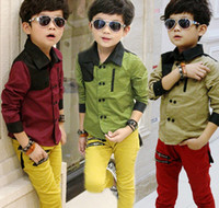 Wholesale Boy s Shirt Lapel Long sleeved Shirt Cardigan cotton IMITATED SILK FABRIC Double Breasted