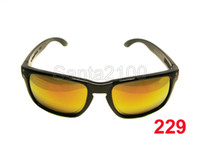 Wholesale 10pairs Brand Mens Womens Sports Sunglasses Designer Glasses Holbrook Polished Black Frame Fire Lens