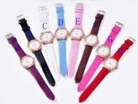Wholesale DHgate Recommend Womens PU Leather Crystal Quartz Wrist Watch