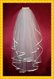 CUSTOM MADE Cheap wedding veils accessory bridal veil two layers ribbon edge wedding veil Bridal Gown Veils