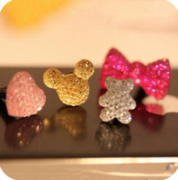 Wholesale Bowknot crystal dustplug iphone4 S iphone6 headphone hole dustplug headset dustproof anti dust dhl