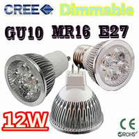 Wholesale xHigh power CREE W x3W Dimmable GU10 MR16 E27 E14 B22 Led Bulb Light Lamp Spotlight