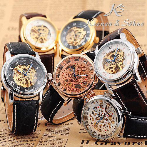 ks men skeleton mechanical wrist watches automatic analog ks men skeleton mechanical wrist watches automatic analog waterproof case watch leather band