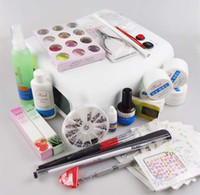 Wholesale Beginners UV Gel Nail Kit in Nail Art Care Set w Curing Lamp For Salon Nail Beauty