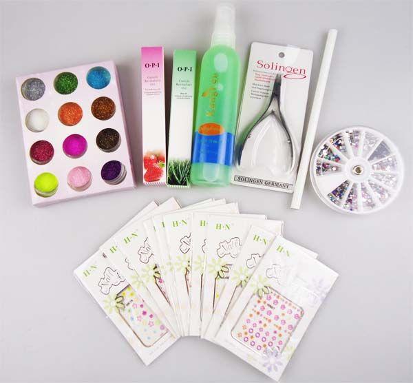 Beginners UV Gel Nail Kit 19 in 1 Nail Art Care Set 36w Curing Lamp