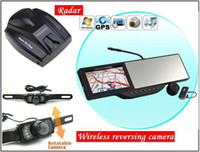 Automotive Gps Navigator Bluetooth HOT SELL, 5'' inch Touch Screen Rear view mirror GPS with DVR, radar, reversing camera, Bluetooth