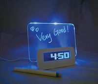 Wholesale 5pcs Fluorescence message board clock colorful backlight calendar LED display free CPA