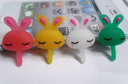 Discount cute anti dust cap Free Ship 50pcs Cute Rabbit Shape Earphone Anti Dust Plug Dustproof Ear Cap for Apple iPhone 4 4S