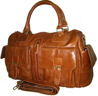Wholesale Handmade Men s Bull Leather Travel Tote Shoulder Duffle Gym Bags Bookbag Luggage