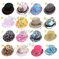 Wholesale Baby Trilby Fedora Hat Children Hat Kids Top Hat Boys Girls Jazz Cap Sunbonnet Mixed Designs