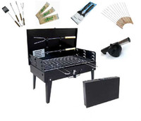 Wholesale Portable Suitcase Charcoal Barbecue Grill BBQ Box Windshield Settings