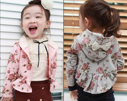 Wholesale children rose flower printed girls little outerwear jacket floral print baby wear hoodies