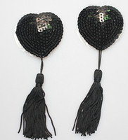 Wholesale Sexy Sequin Nipple Covers with Tassel Heart Shaped Breast Nipple Covers New Fashion Sexy Pasties Black Pair