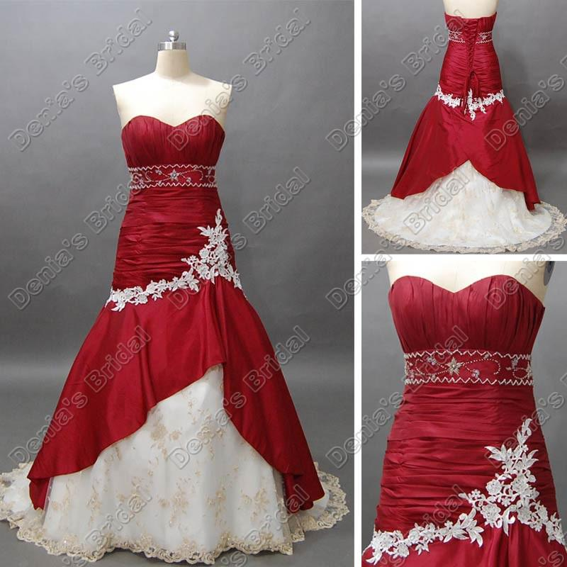 Wine red and white bridal wedding dress sweetheart mermaid for Cheap white and red wedding dresses