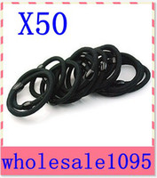 Wholesale 50 pieces Black Hair Elastic Ties Ponytail Holder ponies scrunchies girl women hair Elastic Hair Loo