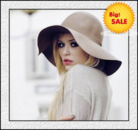 Wholesale Hats Winter Hats Ladies Cap Warm Stylish Wide Brim Hats Wool Bowknot Best Christmas Gift Discount