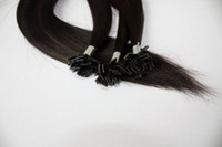 "brown straight 1.0g Wholesale - 16"" -24"" 1g s 100g set flat -Tip Human Hair Extensions #2 dark brown"