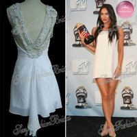 Reference Images Knee-Length Chiffon Megan Fox movie awards chiffon double traps beads accented backless celebrity dresses evening dress