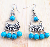 Wholesale Hot Vintage Handmade Tibetan Silver turquoise beads tassel Pendant Earring Stylish Women xms gift pair