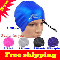 Wholesale The pure silica gel earmuffs swimming cap long hair earmuffs swimming cap effective waterproof col