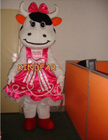 Wholesale Pink Dress Cow Mascot Costume Adult Halloween Cartoon Party Outfits Fancy Dress Ideas