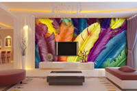 Wholesale Large murals bedroom TV setting wall of sitting room sofa wallpaper personality colorful feathers