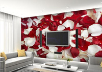 Wholesale Large murals romantic bedside sitting room TV setting wall wallpaper wallpaper rose petals